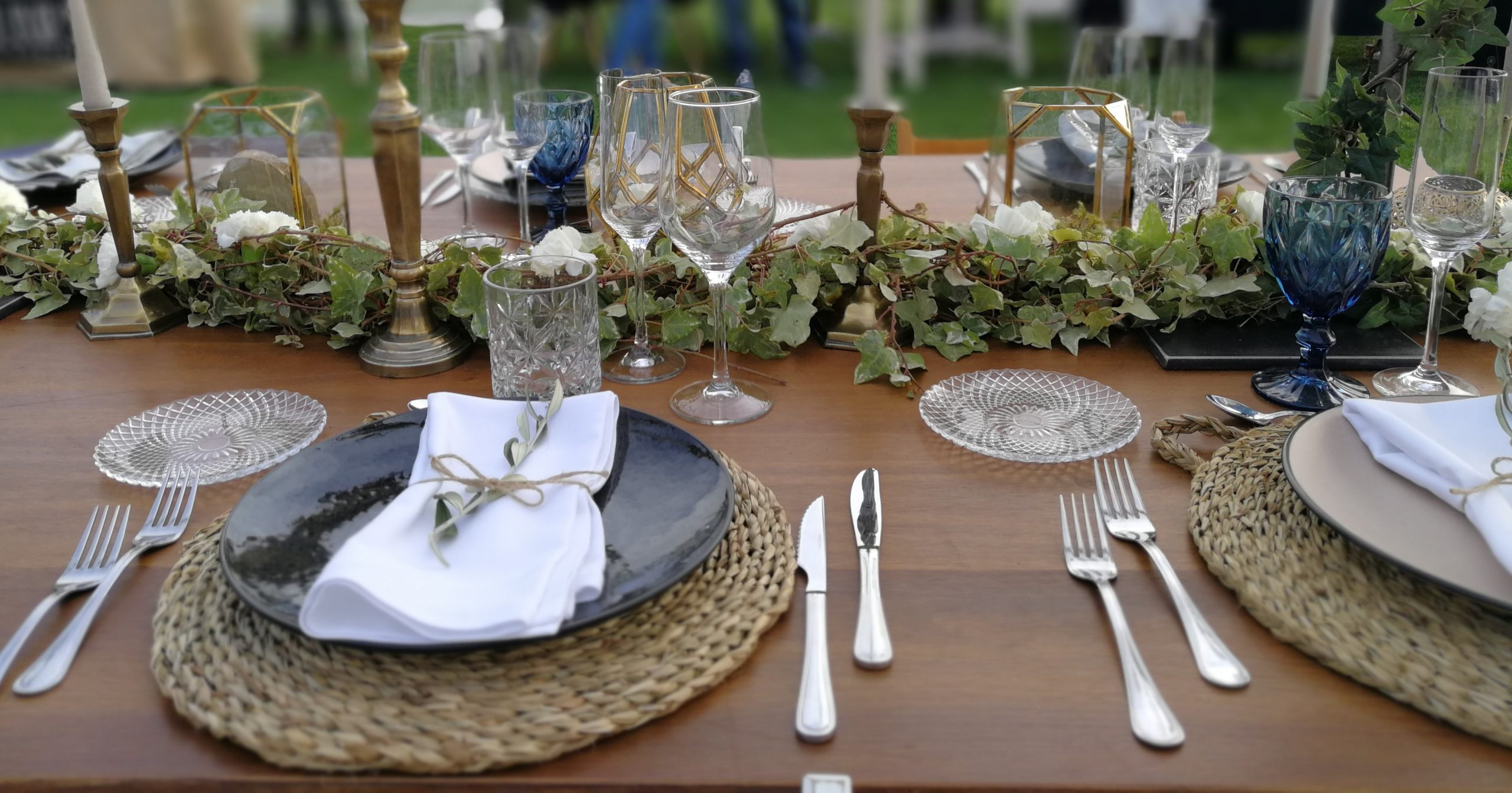 mesa vista en azul