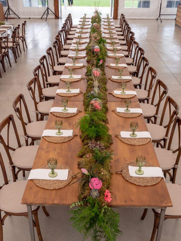 mesas largas con crossback